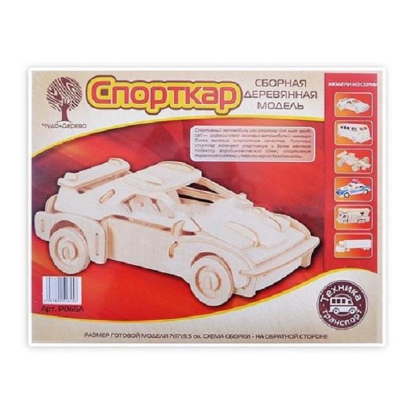 Купить Модель деревянная сборная Спорткар, Wooden Toys, Модели для сборки