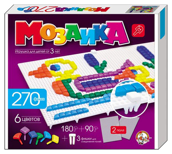 Мозаики Десятое Королевство Пластмассовая детская мозаика 270 элементов фото
