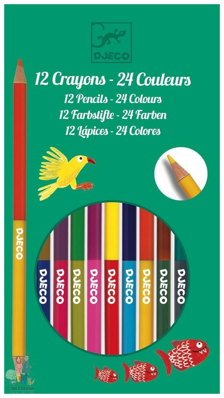 Карандаши цветные Djeco 12 двухсторонних карандашей, Цветные карандаши  - купить со скидкой