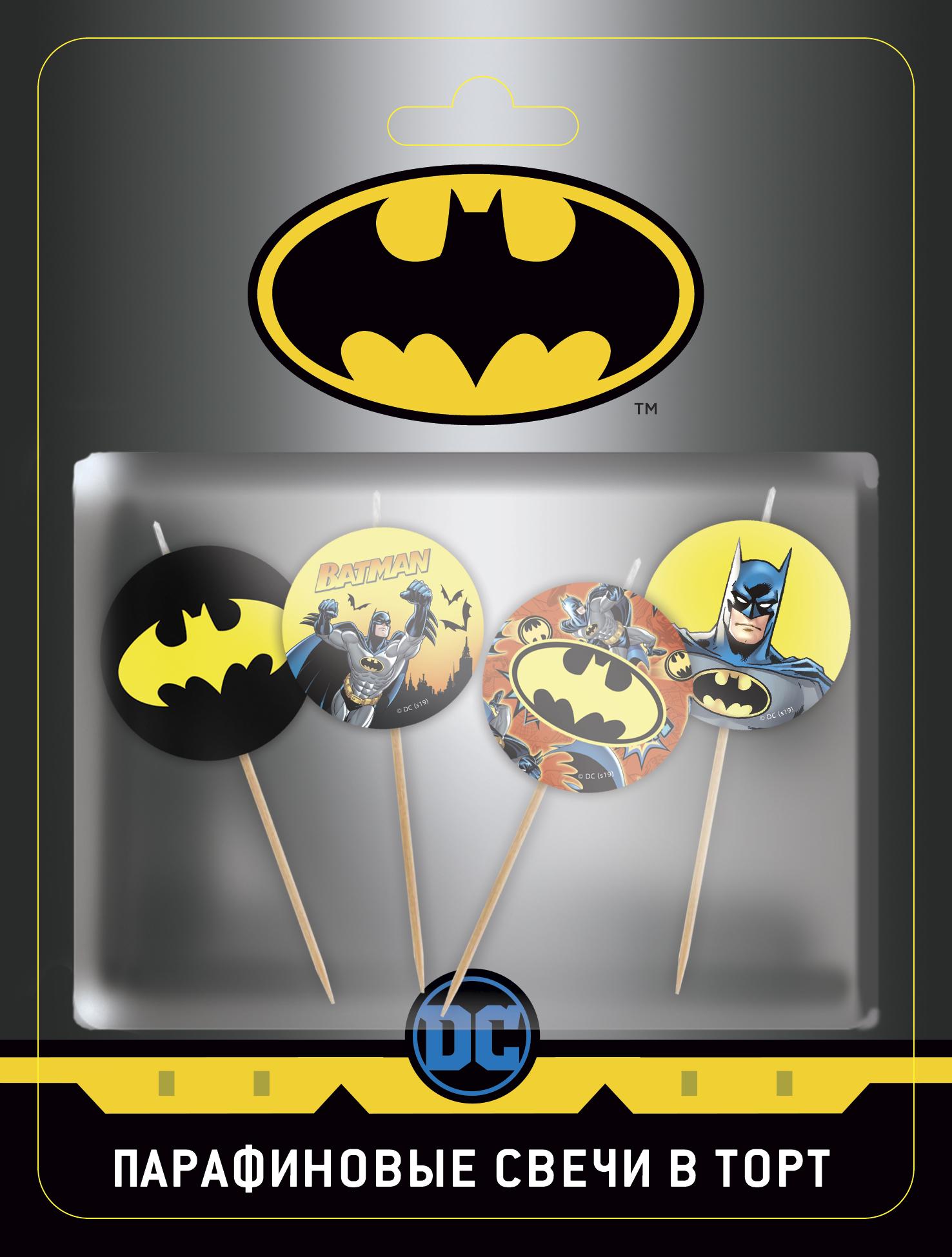 Купить Свеча парафиновая для торта ND Play Batman 4 шт., Свечи праздничные