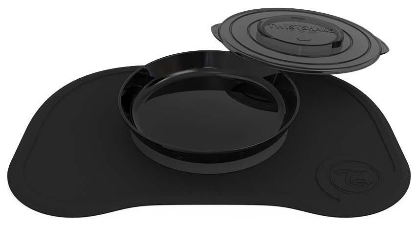 Коврик для кормления с тарелочкой Twistshake Click Mat, черный