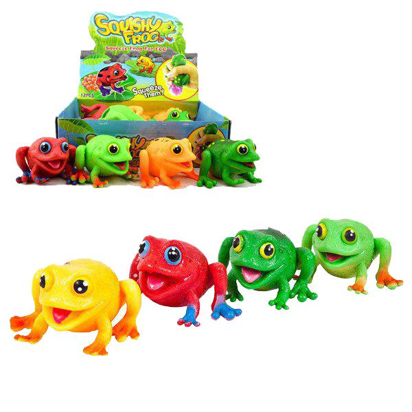 Купить Игрушка-антистресс Лягушка-сквиши , 4 цвета, 12 шт в дисплее, ЦЕНА ЗА ШТУКУ!, Junfa toys,