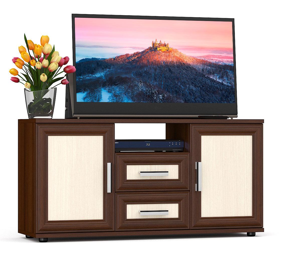 Тумба под телевизор приставная Мебельный Двор Бонус 120х36х60 см, орех/дуб