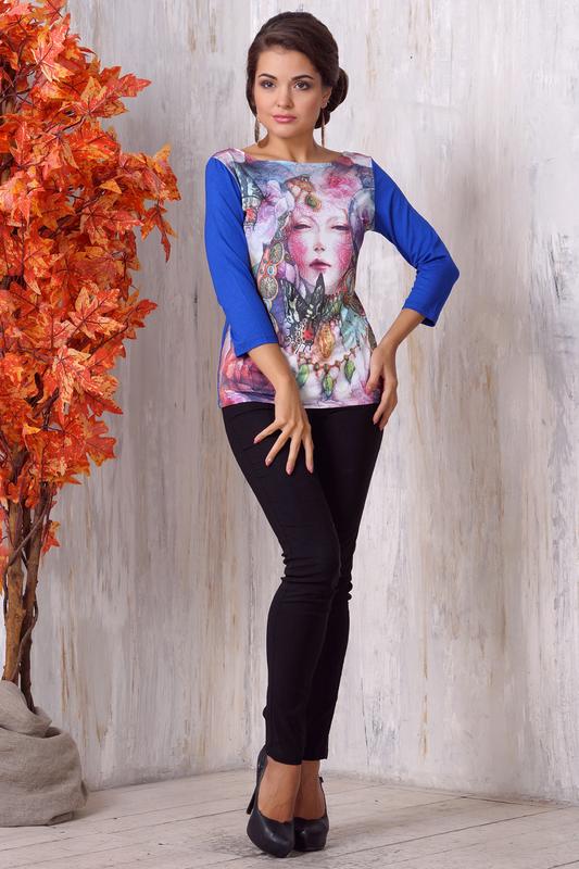 Блуза женская VAY 3092 синяя 44 RU фото