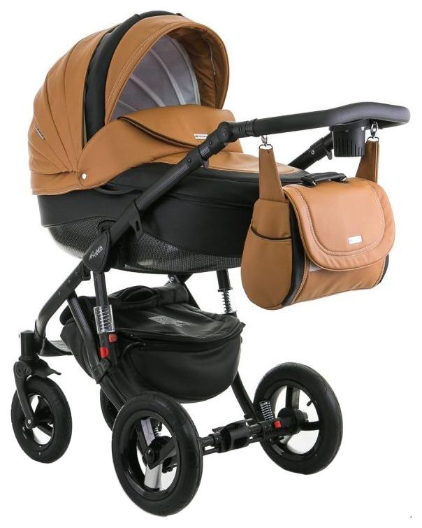 Купить Коляска 2 в 1 Adamex BARLETTA ECO carbon, (карамель+графит 31S), Детские коляски 2 в 1