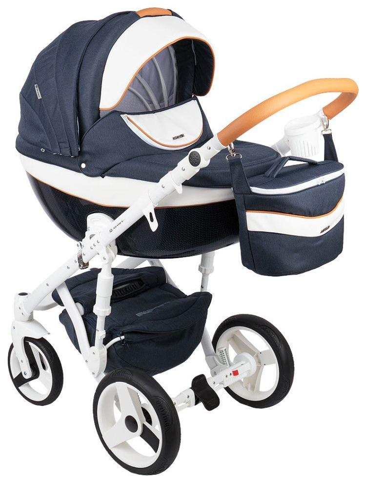 Купить Коляска 3 в 1 Adamex Monte Carbon темно-синий, Белый, Карамель D29, Детские коляски 3 в 1