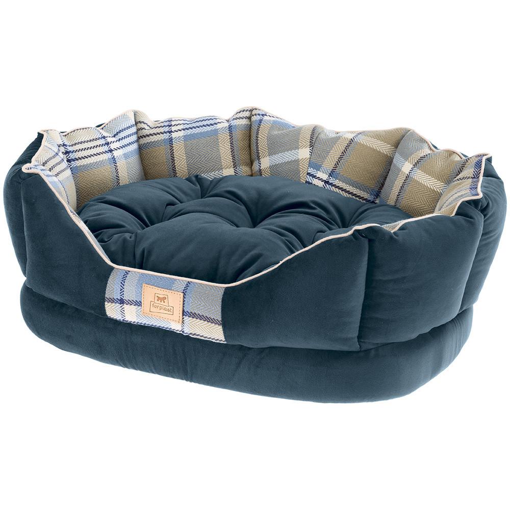 Лежак Ferplast Charles с двухсторонней подушкой для собак (70 x 52 x 25 см, Синий)