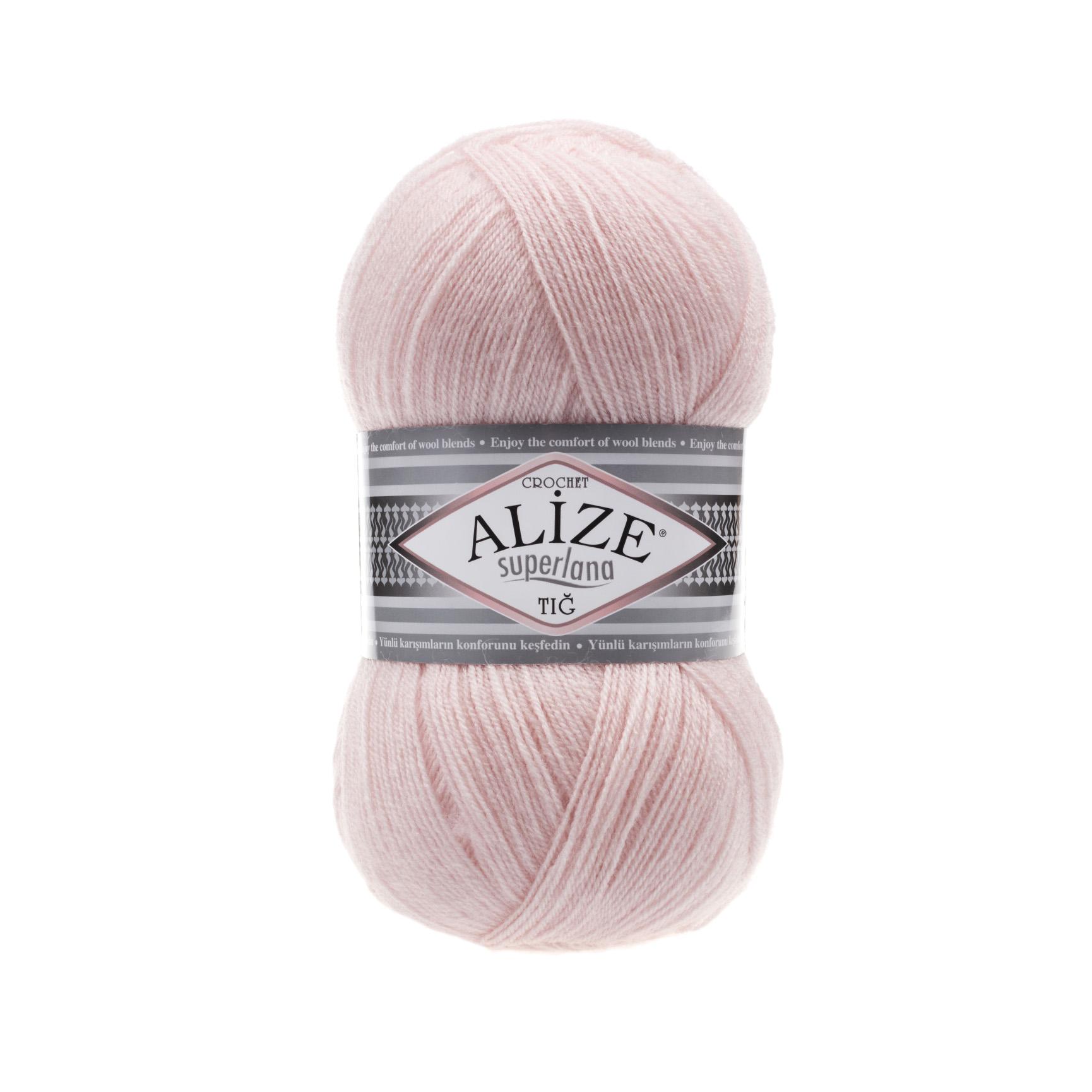Пряжа для вязания Ализе Superlana TIG (25% шерсть, 75% акрил) 5х100гр/570 м цв,271 жемчужн