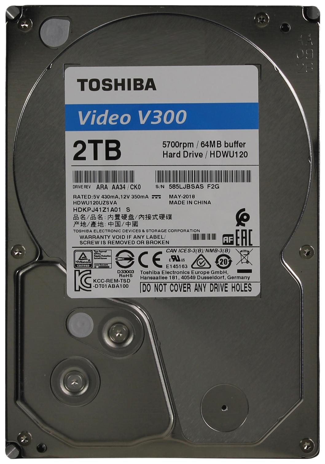 Внутренний жесткий диск Toshiba Video V300 2TB (HDWU120UZSVA) фото