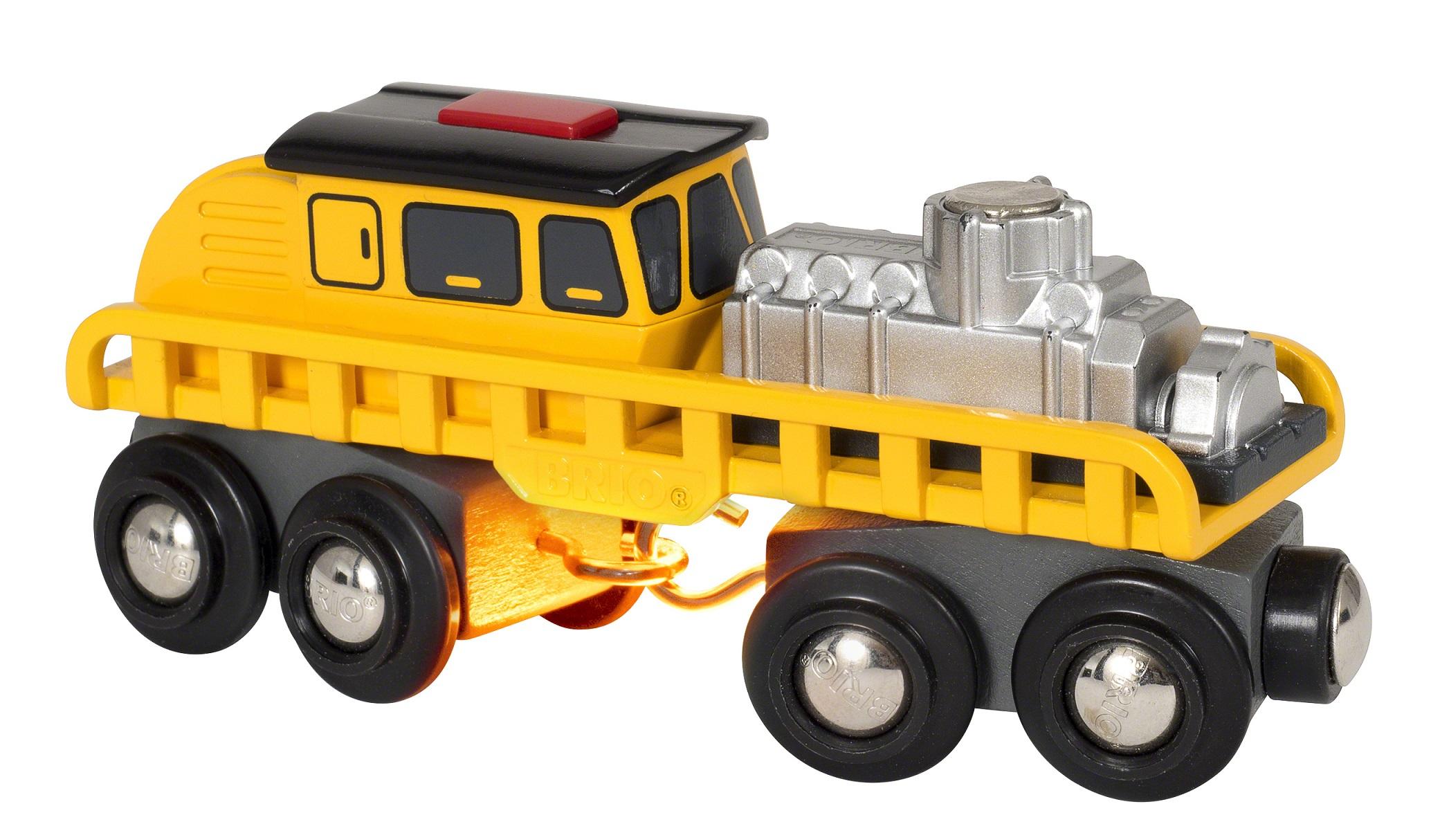 Купить Мастерская Поезд ремонтной бригады с грузом деревянной железной дороги BRIO свет 33897, Детские железные дороги