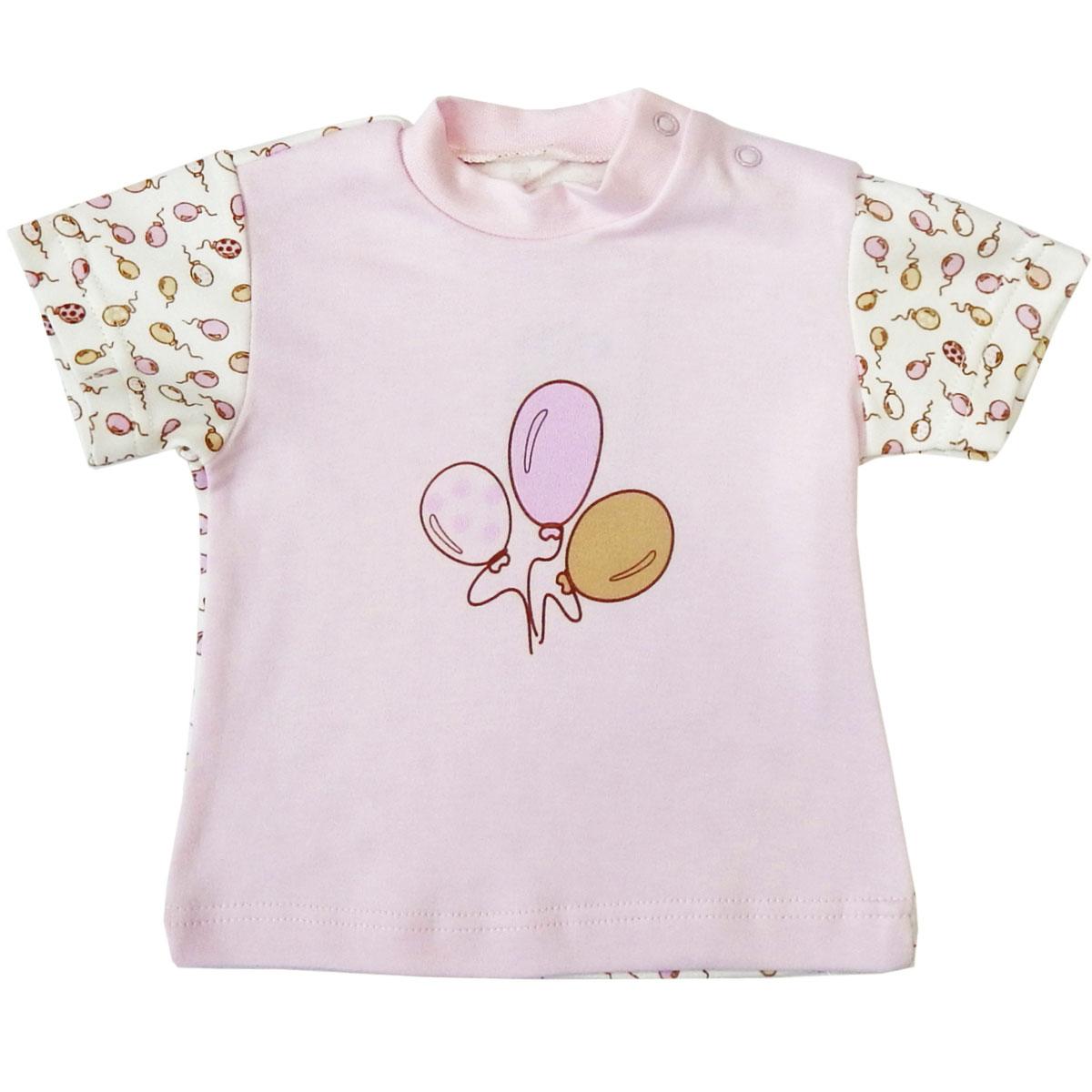 Купить Футболка детская Папитто Воздушные шарики роз/роз И470-37 р.68, Детские футболки, топы