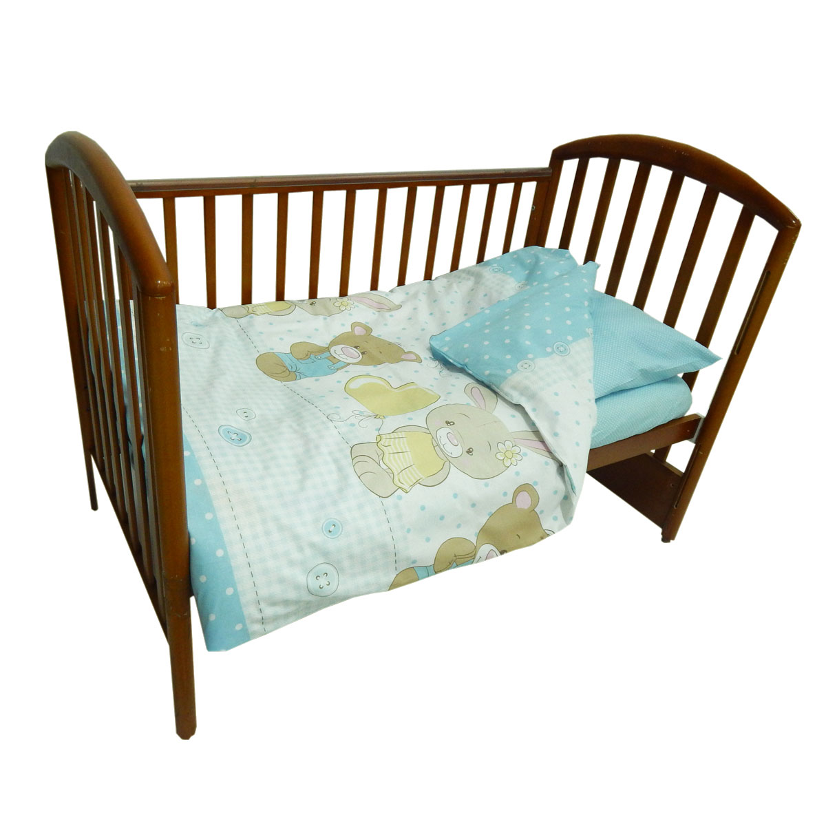 Детское постельное белье Папитто 147*112 простыня на резинке Друзья голубой 6047