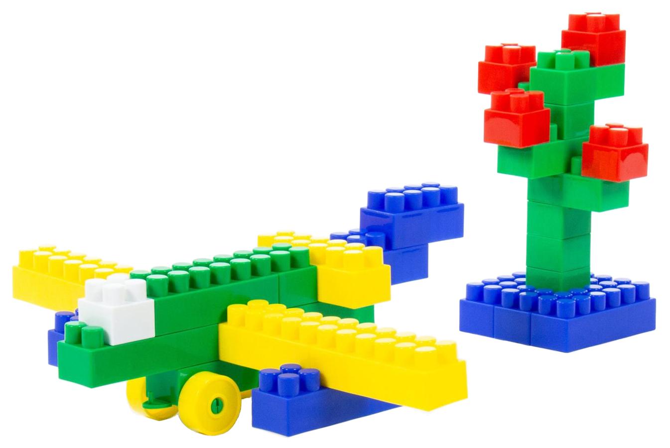 Купить Игрушки, Конструктор Полесье Строитель Средний 95 деталей в мешке, Конструкторы пластмассовые
