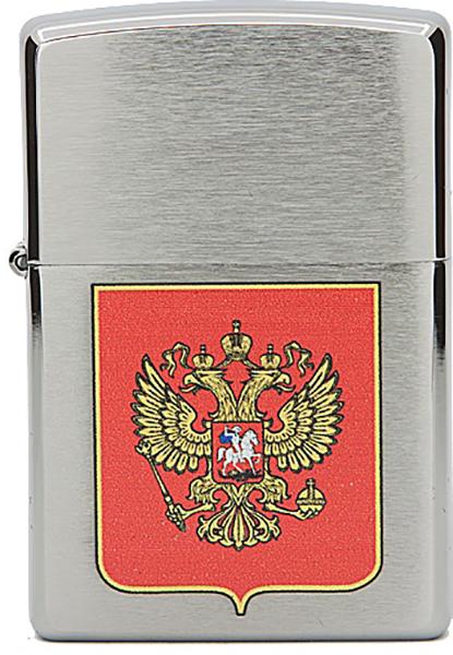 Зажигалка Zippo №200 Герб России Brushed Chrome