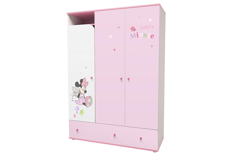 Купить Детский шкаф трехсекционный Polini Kids Disney Baby «Минни Маус Фея» с ящ-ми Белый/Розовый, Шкафы в детскую комнату