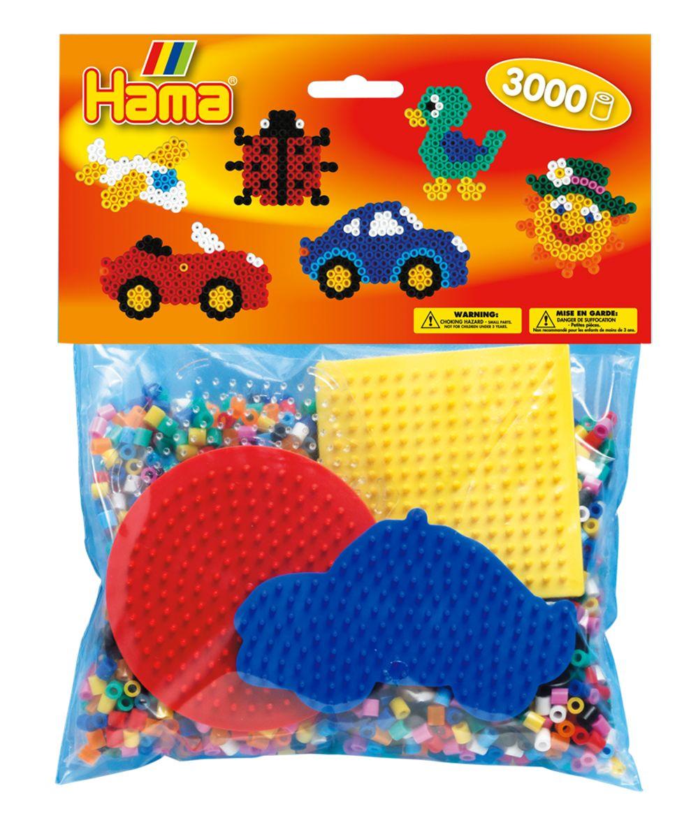Набор для термомозаики 3000 бусин, круг, квадрат, шестиугольник, машинка Hama 4413