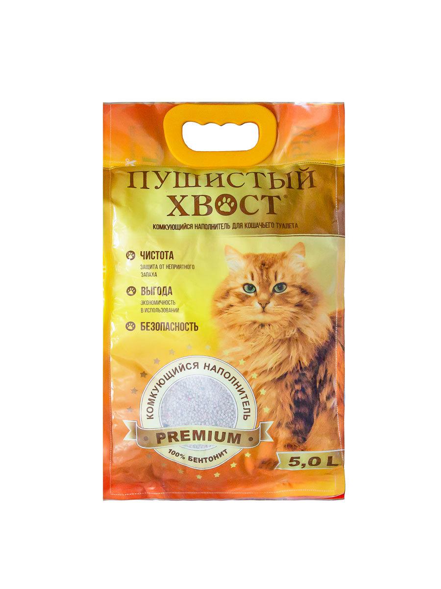 Наполнитель для кошачьих туалетов Пушистый хвост, комкующийся, 5 л