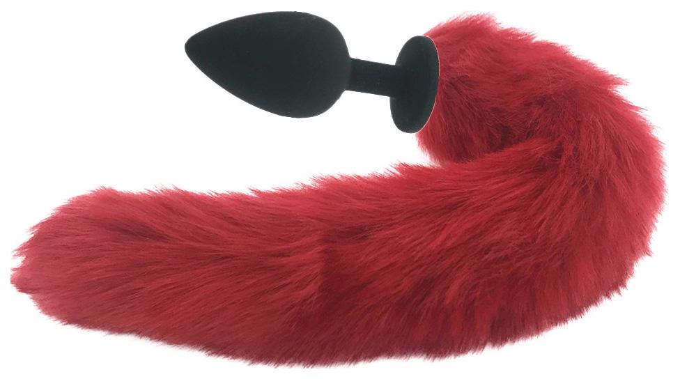 Силиконовая анальная пробка с длинным красным хвостом Красная лиса