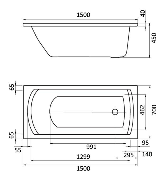 Комплект монтажный Santek для ванны Монако 150х70см белый (WH112424)