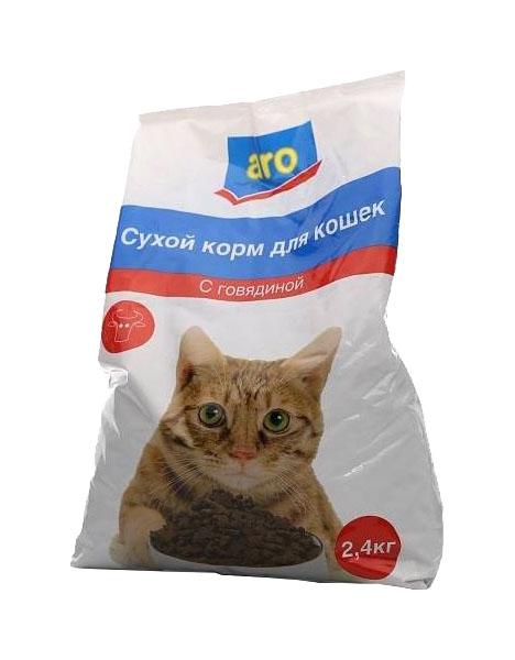 Сухой корм для кошек Aro, говядина, 2,4кг фото