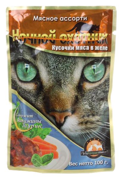 Влажный корм для кошек Ночной Охотник, мясо, 100г фото
