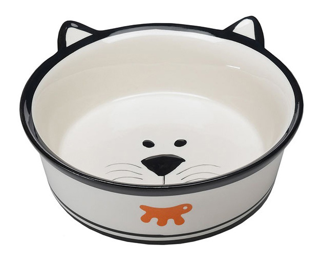 Одинарная миска для кошек Ferplast, керамика, белый, 0.15 л фото