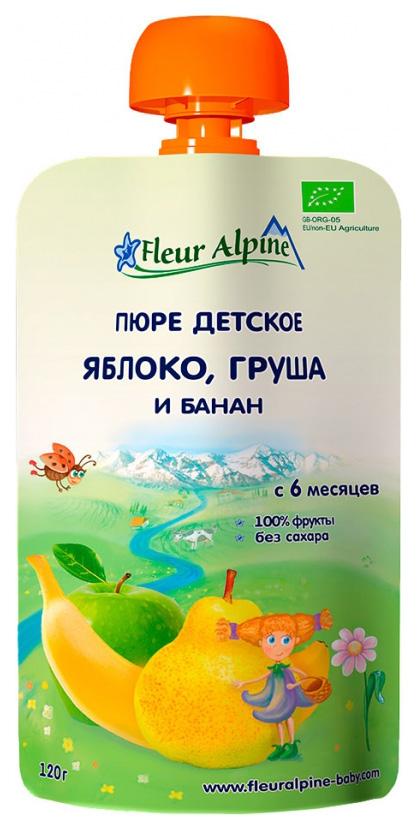 Купить Яблоко, груша и банан 120 г, Пюре фруктовое Fleur Alpine Яблоко, груша и банан (с 6 месяцев) 120 г, Фруктовое пюре