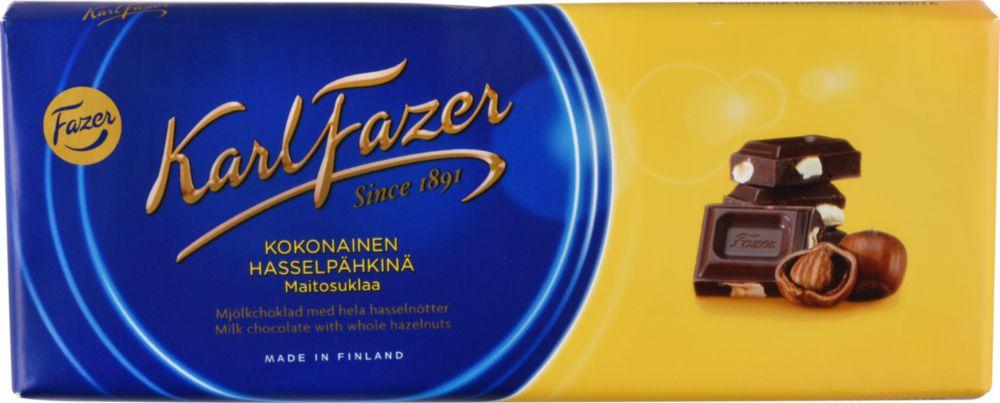 Шоколад молочный Fazer с цельным фундуком 200 г