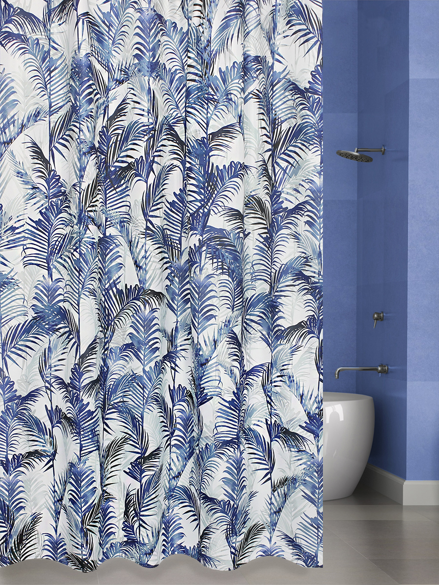 Штора для ванной BATH PLUS Palm Leaf (blue)
