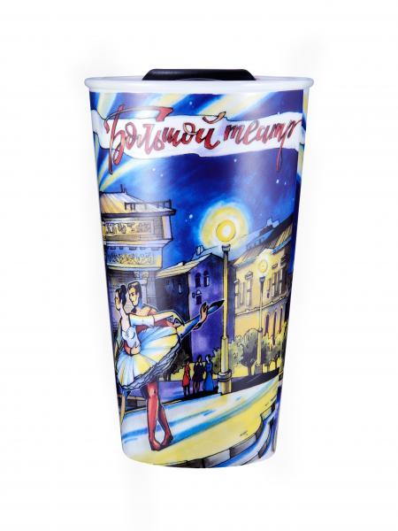 Термостакан керамический WOODSURF/ коллекция FACES&PLACES, скетч, Большой
