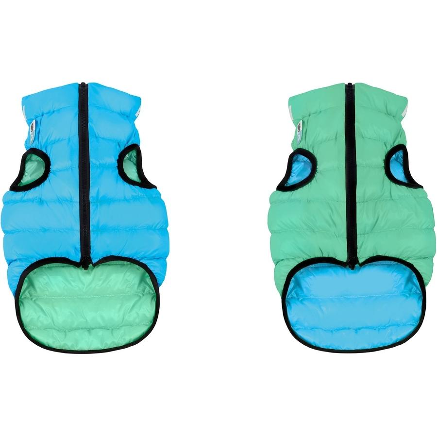 Куртка для собак AiryVes Lumi, двухсторонняя светящаяся, салатово-голубая, M 40