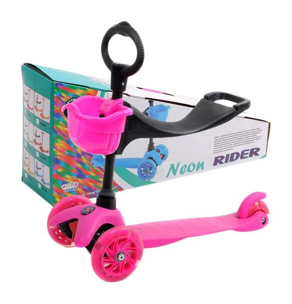 Самокат-кикборд Neon Rider Slider (светятся колеса), розовый Slider