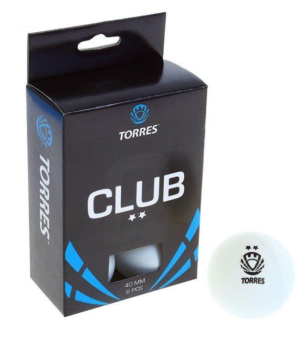 Мяч для настольного тенниса Torres Club, 2 звезды, набор 6 штук, цвет белый фото