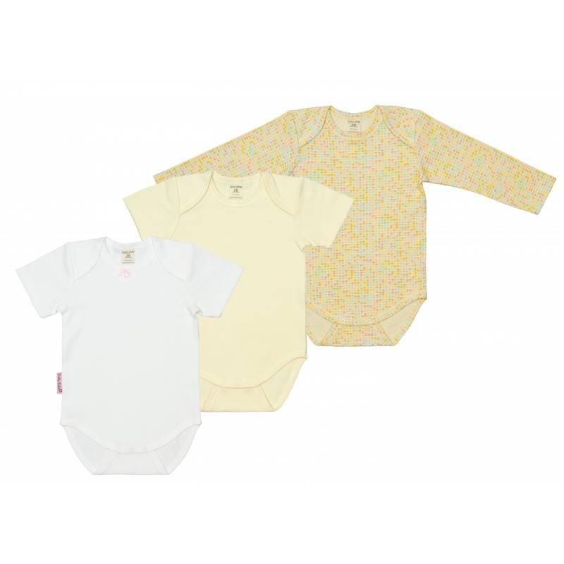 Купить Комплект боди 3 шт Lucky Child, цв. желтый, 68 р-р, Боди и песочники для малышей