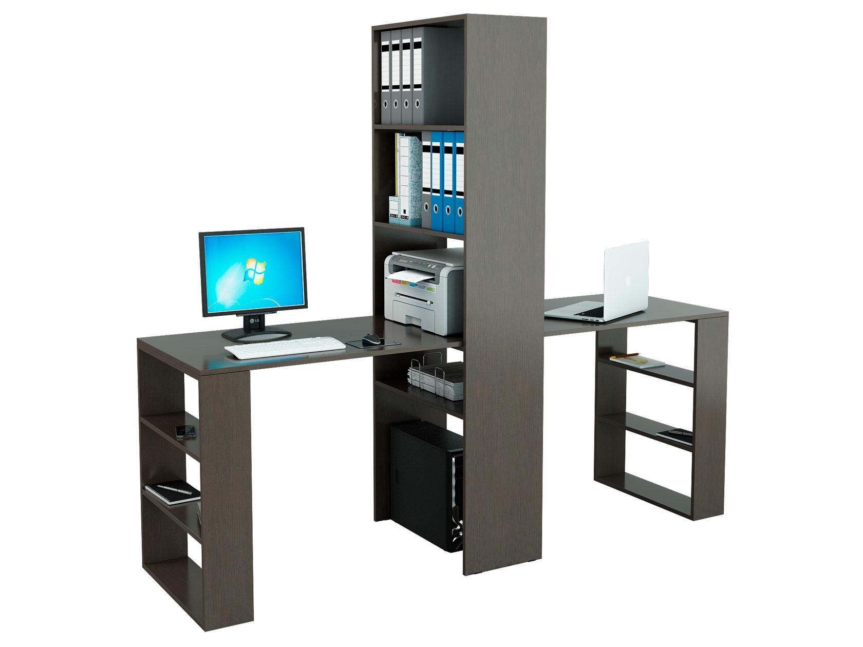 Компьютерный стол со стеллажом МФ Мастер Рикс-4 + 2 шт. Рикс-5 Венге