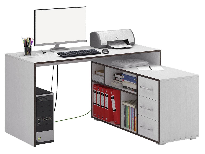 Компьютерный стол МФ Мастер Краст-2 140x120x75, белый