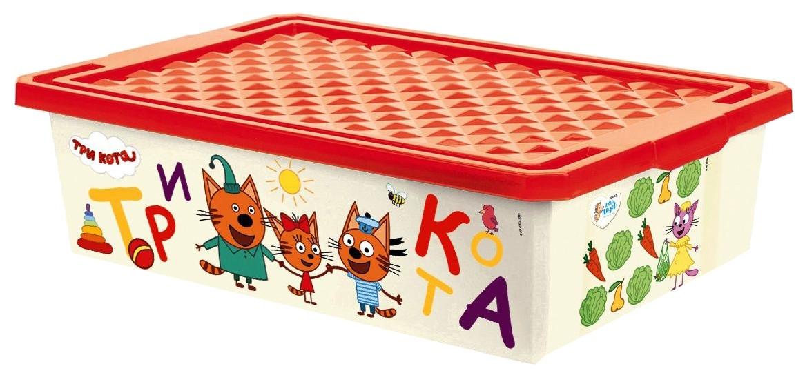 Ящик для игрушек Little Angel Три Кота Обучайка. Считай на колесиках 30 л