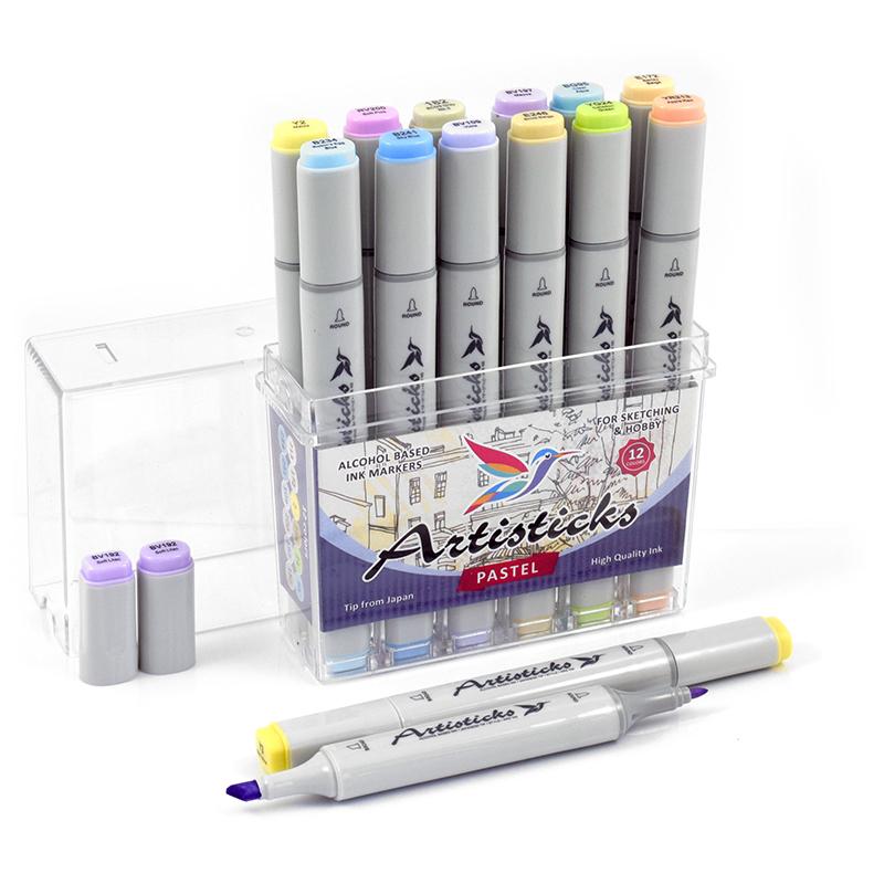 Набор спиртовых маркеров Artisticks Style PASTEL 12 цветов 2-сторонние 1-6 мм