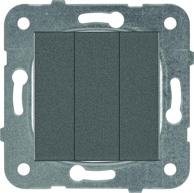 Выключатель 3кл темно-серый Karre Plus