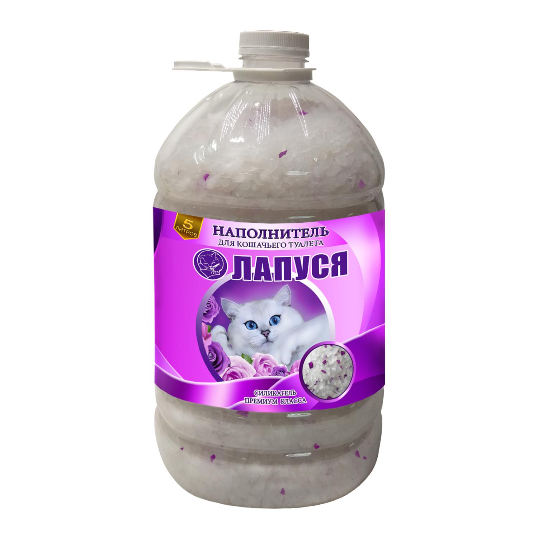 Впитывающий наполнитель для кошек Лапуся премиум класса, силикагелевый, фиолетовый, 5 л фото