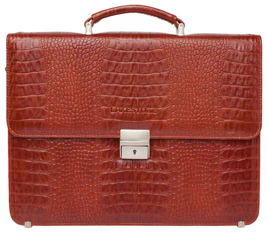 Портфель мужской кожаный Lakestone Braydon оранжевый фото