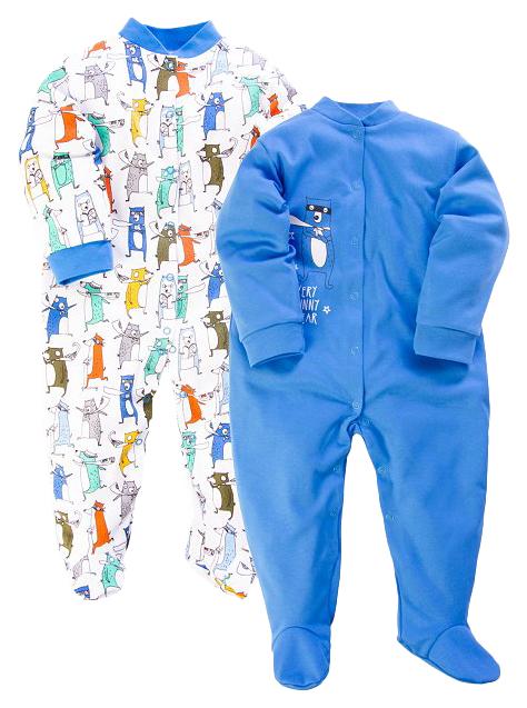 Купить 51322, Комплект комбинезонов 2 шт. Веселый малыш Веселые зверята р.86, Трикотажные комбинезоны для новорожденных