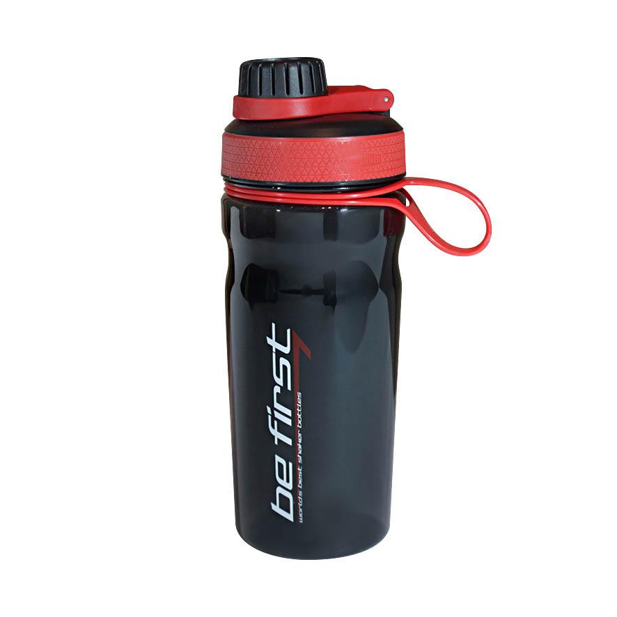 Шейкер Be First 600 мл темный стакан, красная крышка