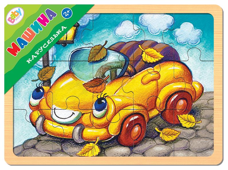 Пазлы Step Puzzle Каруселька Машина деревяннный 15 элементов