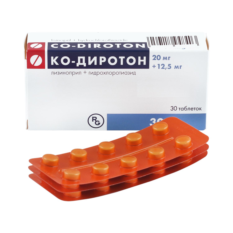 Купить Ко-Диротон таблетки 20 мг+12, 5 мг 30 шт., Gedeon Richter