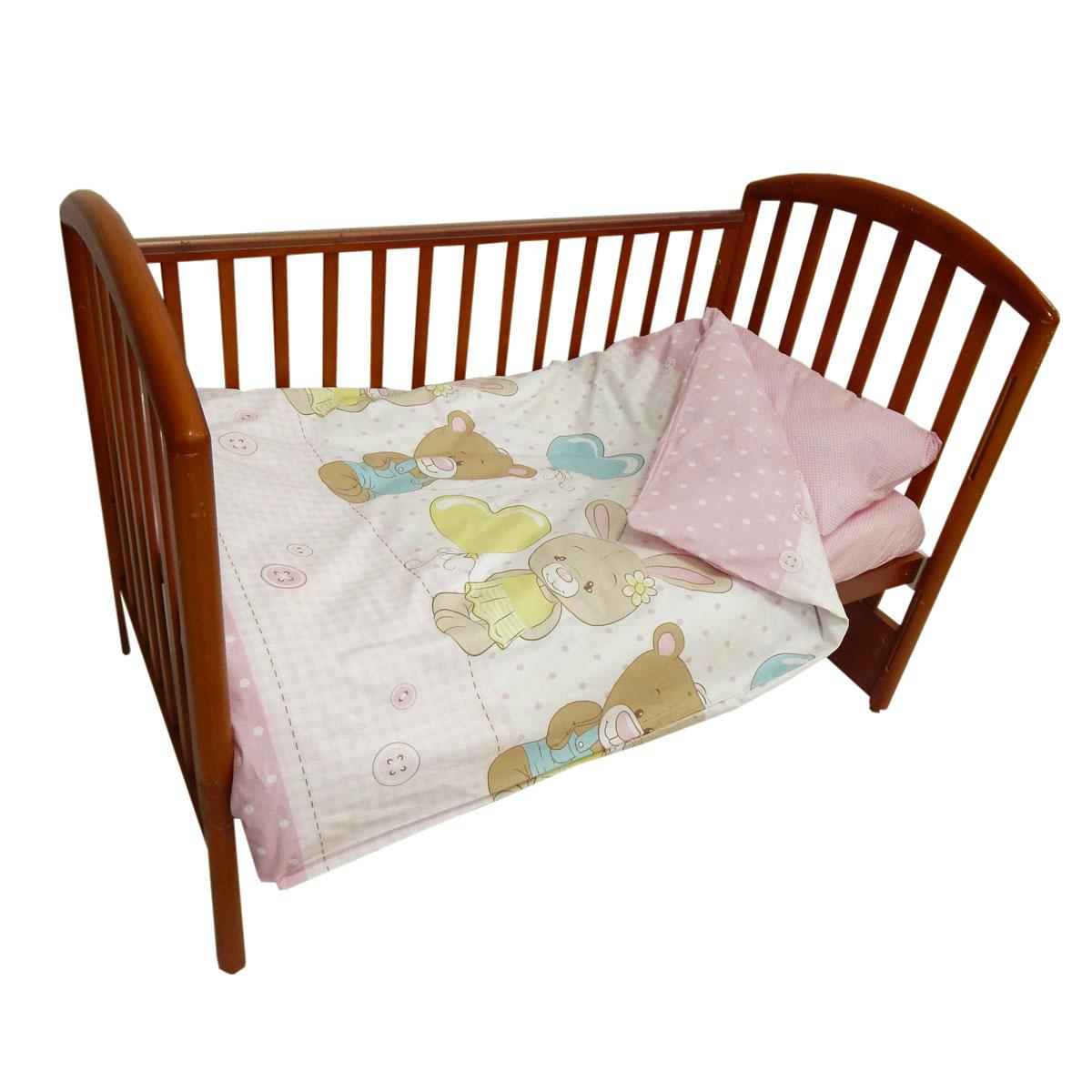Детское постельное белье Папитто 147*112 простыня на резинке Друзья розовый 6047