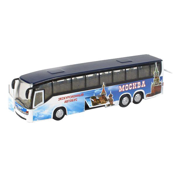 Автобус Технопарк 1:43 инерционный, металлический со светом