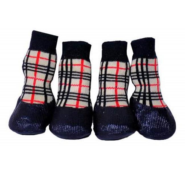 Носки для собак БАРБОСки размер XS, 4 шт бежевый, красный, черный