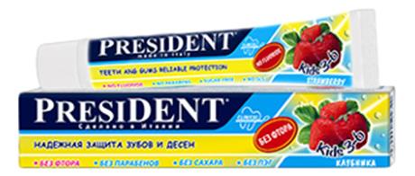 Детская зубная паста PRESIDENT Kids со вкусом клубники (без фтора) 50 мл