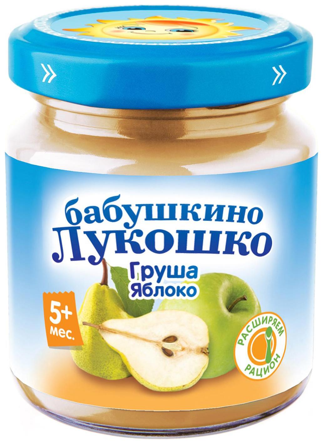 Купить Груша-яблоко 100 г, Пюре фруктовое Бабушкино Лукошко Груша-яблоко с 5 мес 100 г, Детское пюре